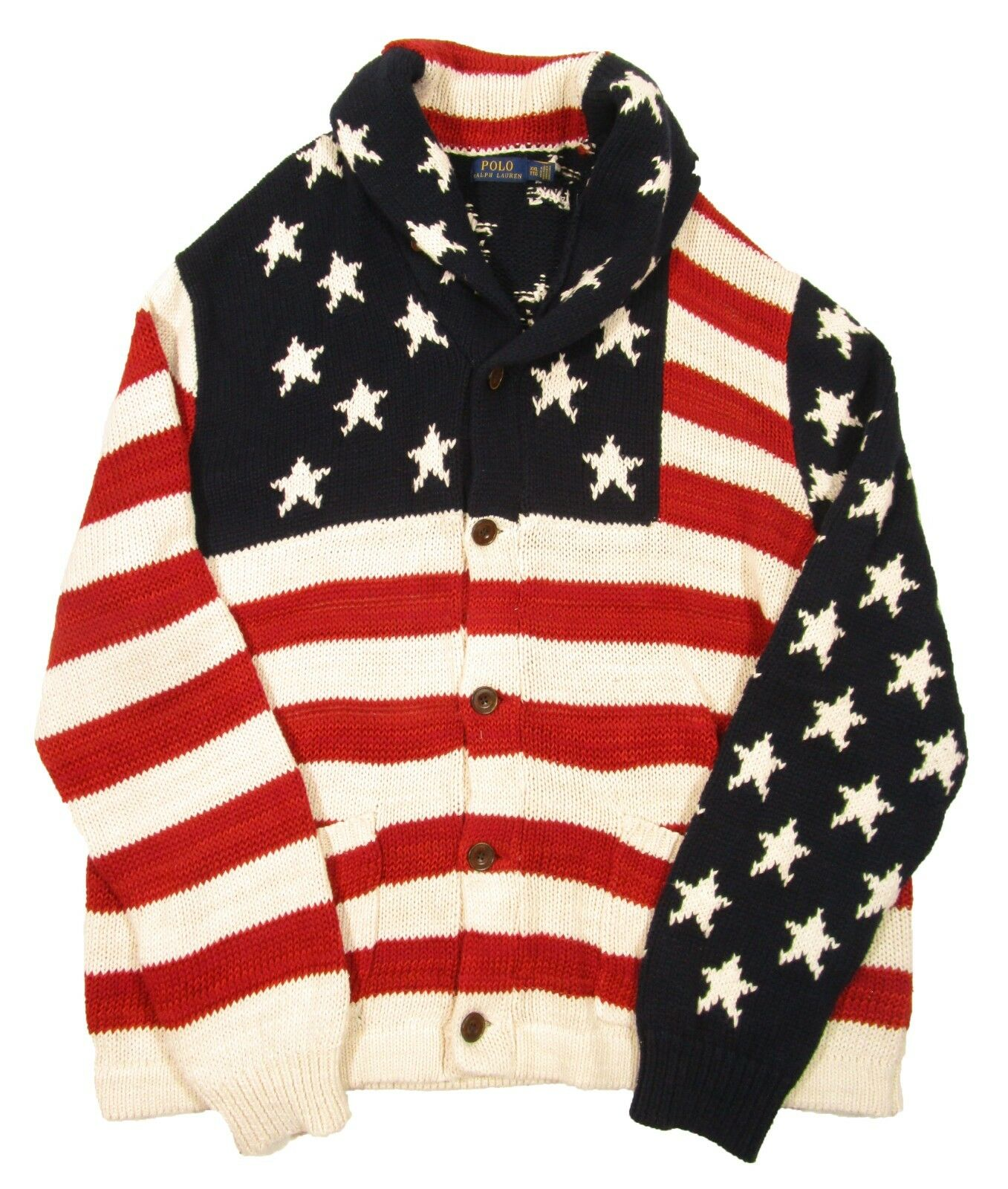 Polo Ralph Lauren Men's Flag Multi American Cotton Blend Shawl Cardigan Sweater