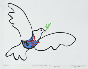 Philippe-LE-MIERE-Pablo-banksy-dove-peace-picasso-original-signed-painting-art-a