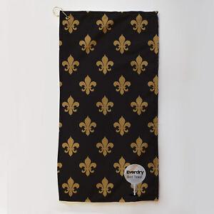 Golf-Towel-Everdry-Microfibre-Plus-Fleur-de-Lis-Black-amp-Gold-63x30cm