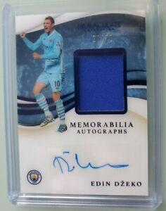 2020 Immaculate Soccer EDIN DZEKO Man City Player Patch Auto Sapphire # 23/25