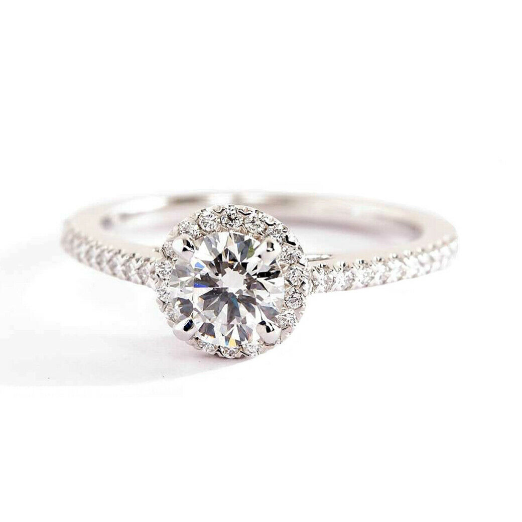 0.80 Ct SI2 H Round Cut Classic Diamond Halo Engagement Ring 18K-White gold
