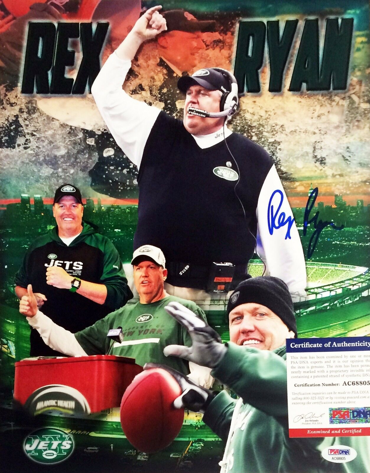 New York Jets Rex Ryan Signed 11x14 photo PSA/DNA AC68805