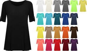 4b49040f7e8 Image is loading New-Plus-Size-Womens-Plain-Swing-Flared-Ladies-