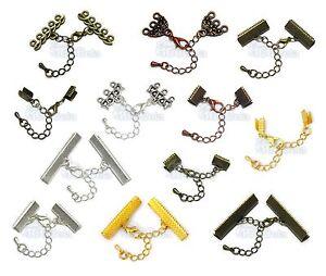 Chaine-extension-Fermoir-Mousqueton-Embouts-Bracelet-Collier-Couleur-Argent-Or