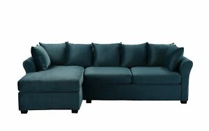 Admirable Details About Teal Blue Velvet Sectional Sofa W Loose Back Pillows Left Facing Chaise Lounge Beatyapartments Chair Design Images Beatyapartmentscom