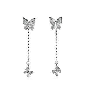 Butterfly-Pendant-Drop-Stud-Earrings-925-Sterling-Silver-Chain-Womens-Jewellery
