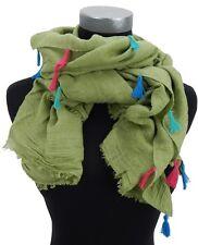 Breiter weicher Damenschal lindgrün mit bunten Quasten Ella Jonte new in scarf