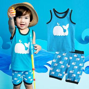 """Vaenait Baby Kids Garçon Vêtements Sans Manches Pyjama Outfit Set """"dauphin Bleu"""" 12m-7t-afficher Le Titre D'origine"""