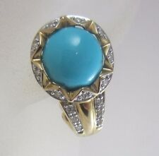 14K YELLOW GOLD LE VIAN PERSIAN TURQUOISE AND DIAMOND EARRINGS 7.0G