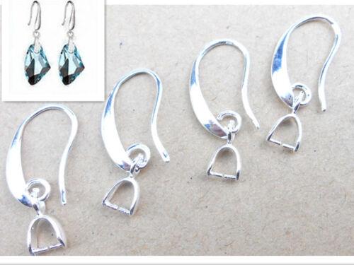 50-200 × Lot Bijoux Earring Findings Silver Pinch Bail Hook Earwire pour cristal
