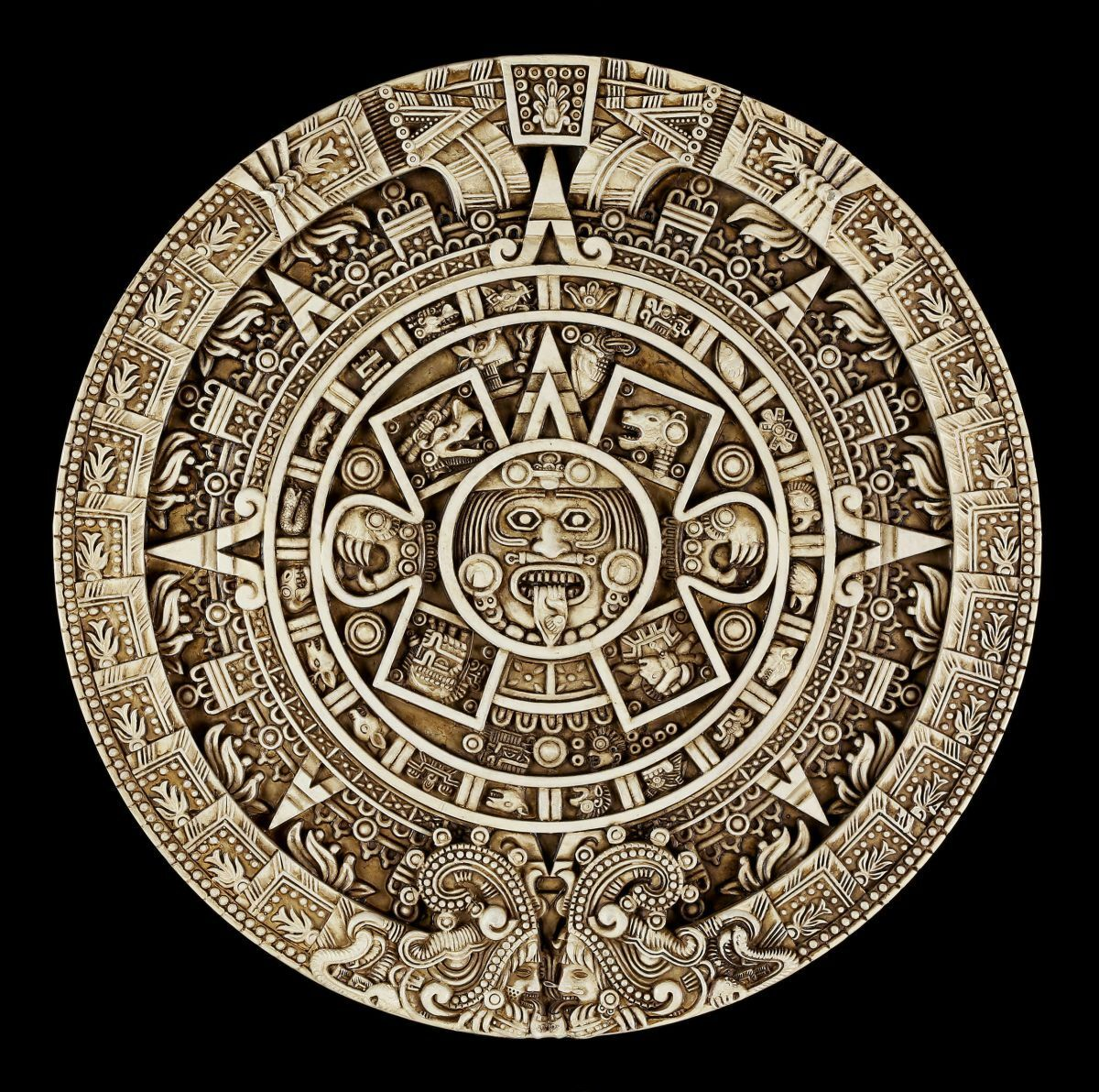 Wandrelief - Azteken Kalender rund - Wand Deko Maya Fantasy  | Einzigartig