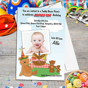 10 personalised boys girls teddy bears picnic birthday party