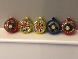 VTG-Jewelbrite-5-Round-Diorama-Xmas-Ornaments-Poinsettias-Flowers