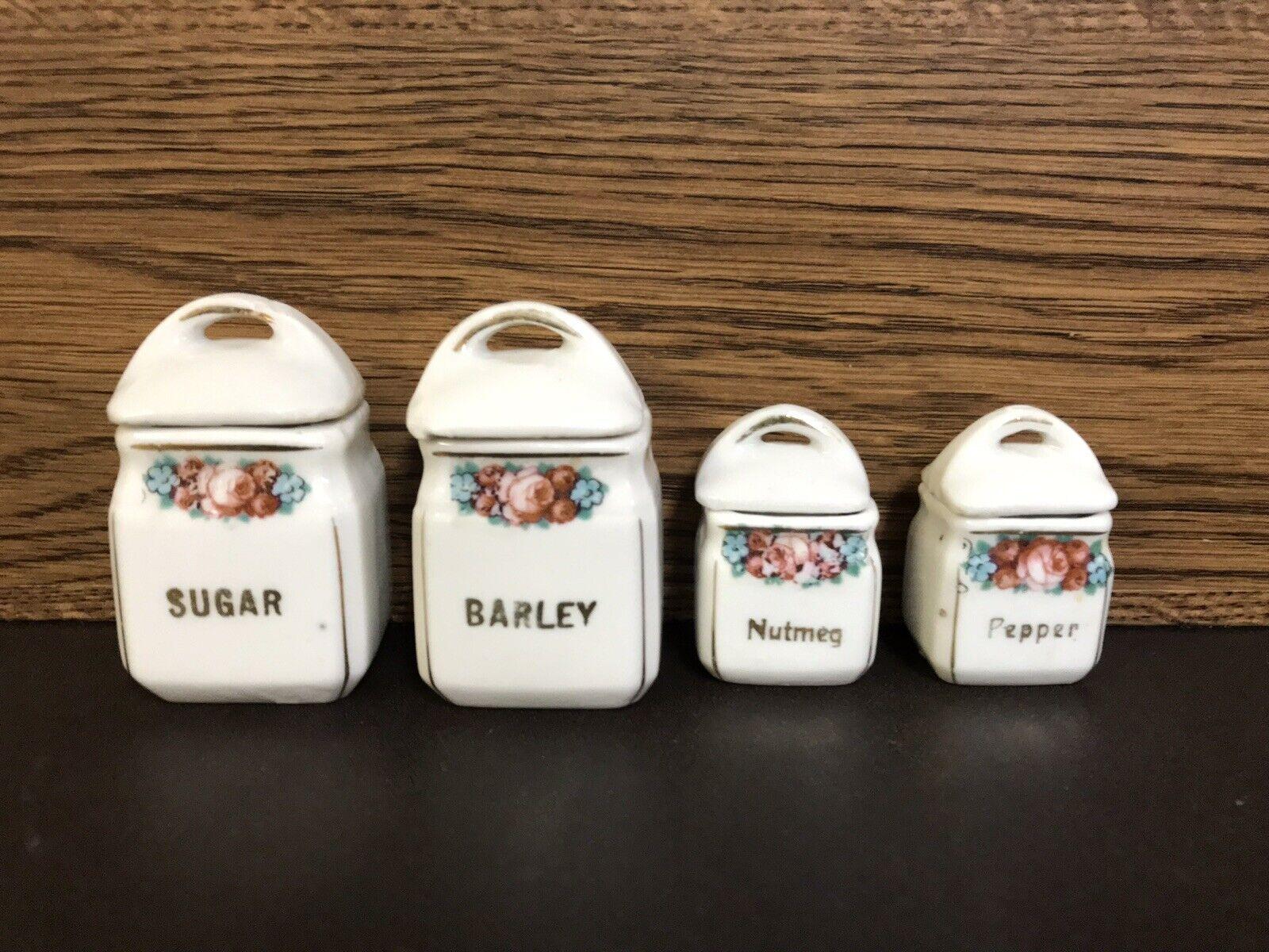 Antique German Kitchen Dollhouse Playhouse Miniature Porcelain Canister Set