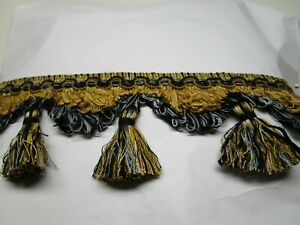 "3/"" BLACK TIED TASSEL FRINGE  FABRIC TRIM 27/&1//2 YARDS"