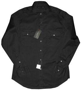 245-NEW-RALPH-LAUREN-BLACK-LABEL-BLACK-SLIM-FIT-MILITARY-CASUAL-DRESS-SHIRT-L