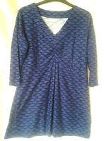 Adini 100% Cotton slub jersey tunic printed V neck 3/4 sleeves button cuffs