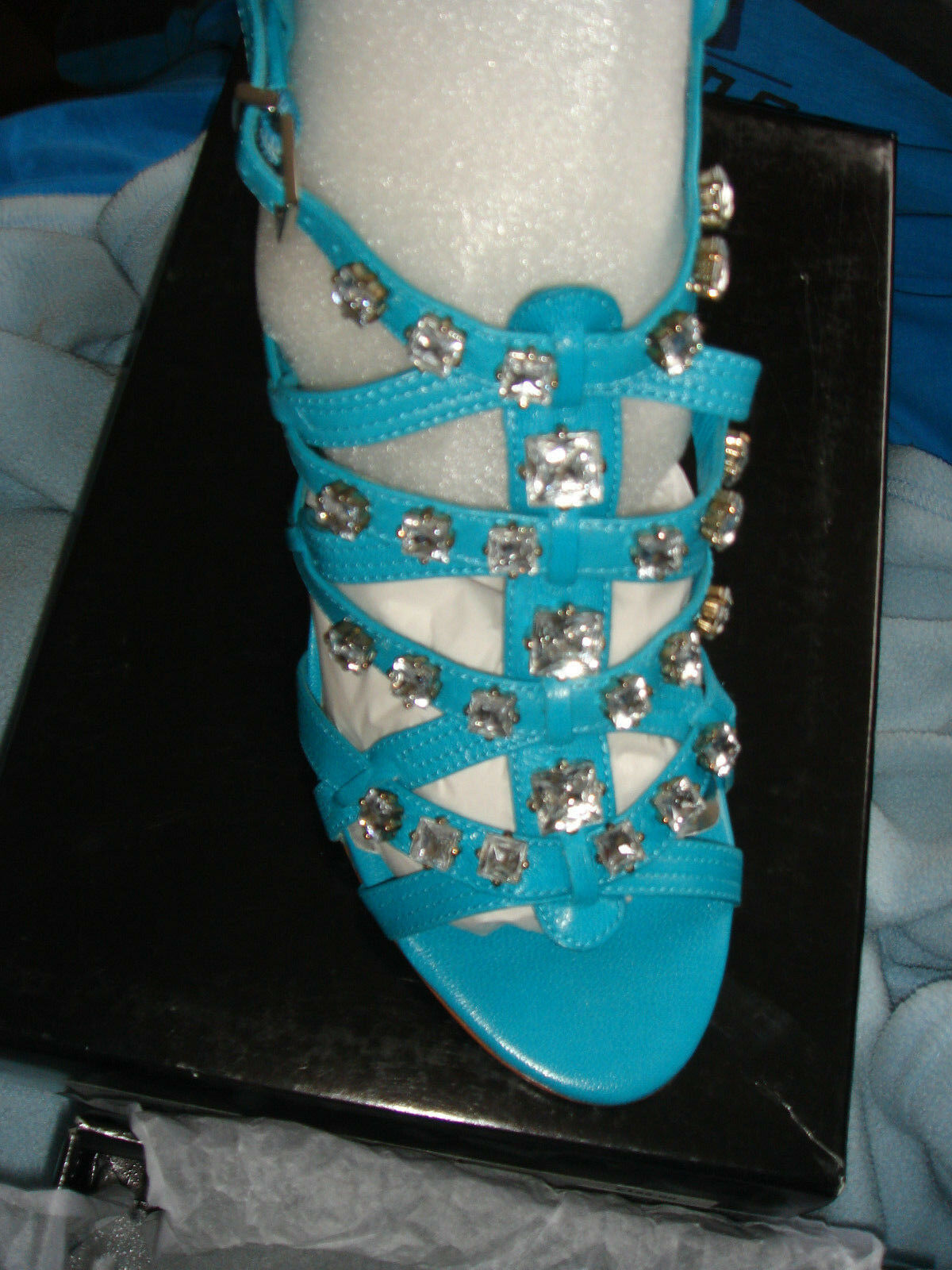 Karen Karen Karen Millen Aqua Turquoise leather jeweled gems crystal Sandals shoes 41 BNIB b3cb5d