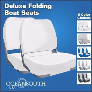 Deluxe White Folding Boat Seats x 2