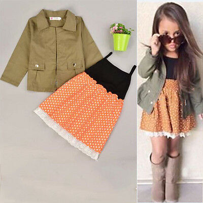 Cute 2Pcs Baby Girls Sleeveless Dress + Kids Long Sleeve Coat Tops Outfits 2-7Y