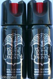 2 PACK Police Magnum pepper spray 2oz Safety Lock Stream Defense Security