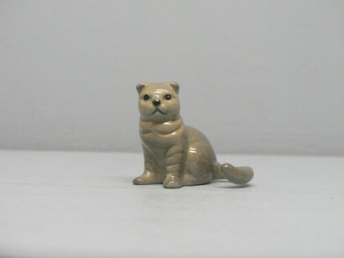 Retired Hagen Renaker Gray Scotch Fold Cat Sitting
