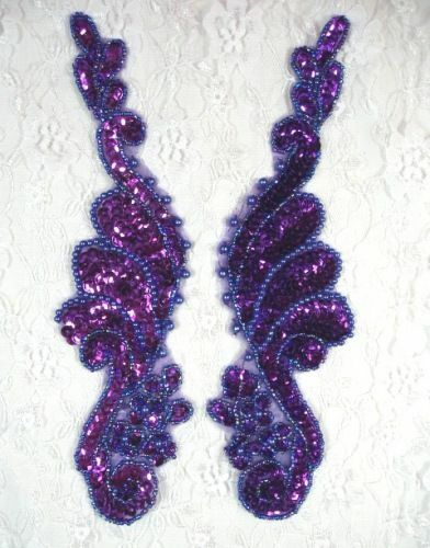 0016 ~ PURPLE BEADED SEQUIN APPLIQUES MIRROR PAIR 8.5/""