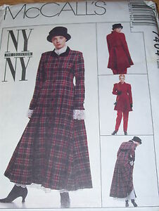 McCALL/'S #7404 LADIES ~ANNIE HALL~ COAT-DRESS-SKIRT-PANTS-SCARF PATTERN  4-18 FF