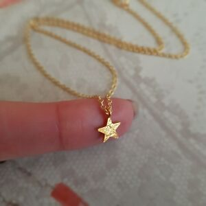 Details about DESIGNER 18K GOLD FILL STAR NECKLACE CHOKER SMALL TINY GOLD  PENDANT TEENAGE GIFT