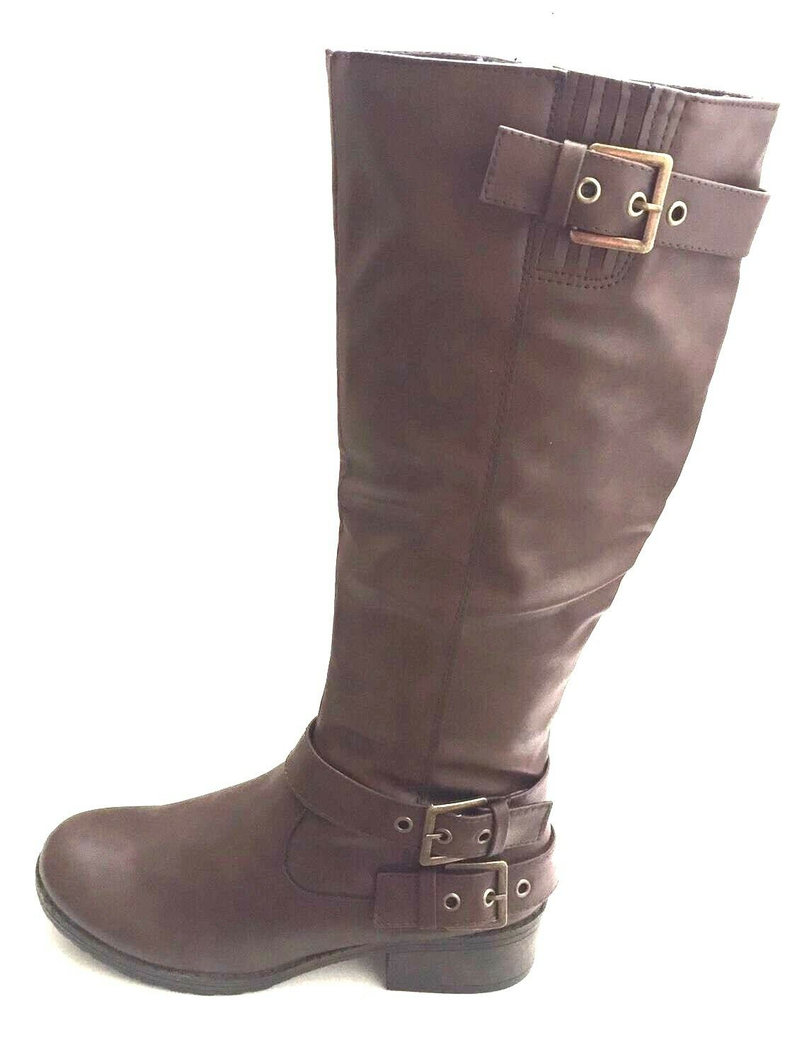 SO Women's Tall Riding Boots size 8.5M shoes Buckle Dark  Brown  Retail 89.99