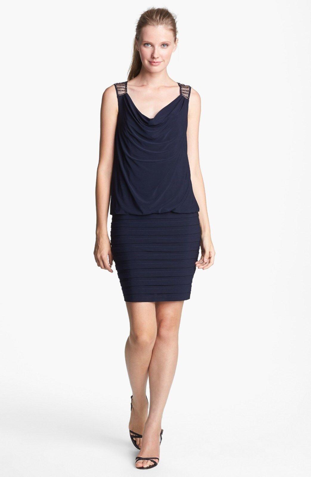 Neuf avec étiquettes xscpae Blau Perles Dos Jersey Blouson Robe Größe 6 Blau Marine