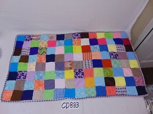 PATCHWORK-BABY-QUILT-38-034-X-21-034-MULTI-COLOR-RETRO-1960-039-S-PATTERN-PATCH-WORK