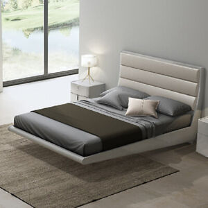 promo code 5a7f4 e176d Details about Mila Light Grey High Gloss Floating Double Bed