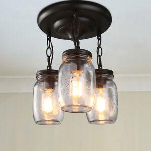 Details About Lnc Gl Pendant Lighting 3 Light Jar Ceiling Lights Semi Flush Mount