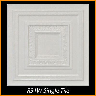 R29 White Decorative Styrofoam Glue Up Ceiling Tiles 20x20 Tin Look