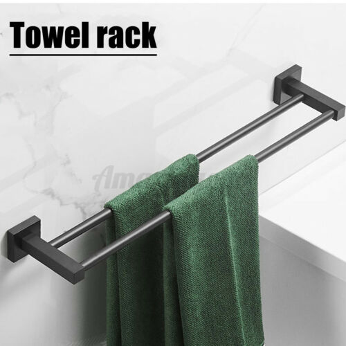 24inch Double Towel Rail Rack Bar Holder Wall Mounted Bathroom Stainless Steel