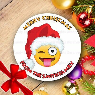 Christmas Emojis.24 Personalised Christmas Emoji Wink Tongue Out Stickers Gift Tag Parcel Present Ebay