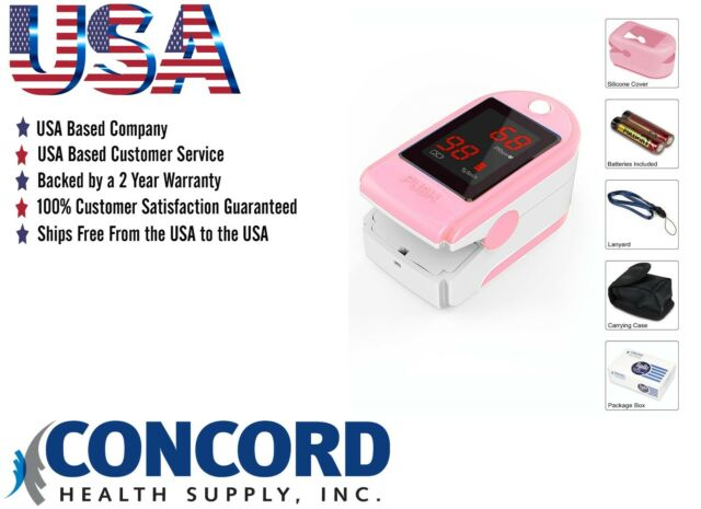 Concord Health Supply Pulse Oximeter Blood Oxygen Saturation Monitor With Case