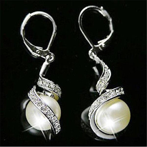 Fashion Lady Pearl Dangle Crystal Earrings Gold Silver Plated Women Ear stud