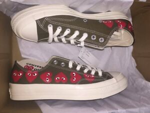 ae5604138dca CONVERSE X COMME DES GARCONS PLAY Multi Heart CTAS 70 Low Khaki Sz 3 ...