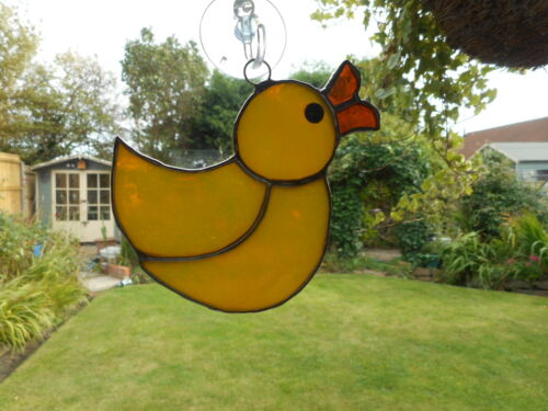 Stained Glass Yellow Rubber Duck Suncatcher or Wall Mount.