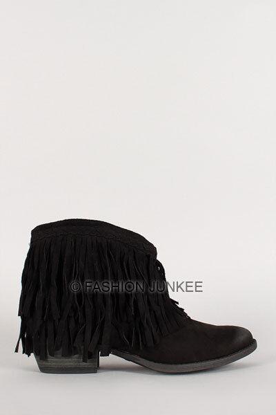 BLACK BRAIDED FRINGE BOOTIES shoes Suede Heels Boots Boho Indie Bohemian 5.5-10