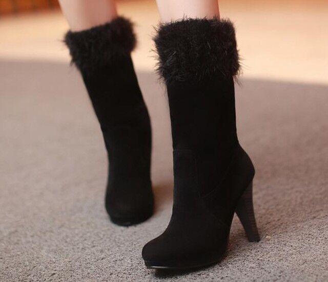Bottes chaussures pour femmes noir écho fourrure talon 10 cm comme cuir 9151
