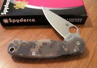 SPYDERCO New Camo G-10 Handle Para Military 2 Plain Edge S30V Bld Knife/Knives
