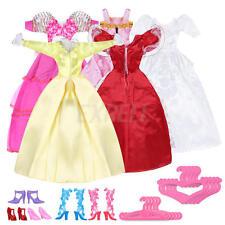 Set 15pz Vestiti Scarpe Attaccapanni per Barbie Bambola Rosa Principessa