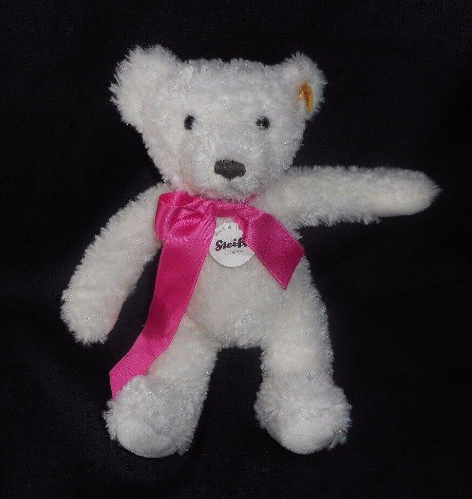 10  STEIFF 673566 TEDDY BEAR WHITE W  PINK BOW TEDDYBAR STUFFED ANIMAL PLUSH TOY