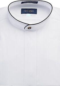 NWT-Men-039-s-Banded-Collar-Dress-Shirt-with-Black-Piping-Sizes-XS-5XL