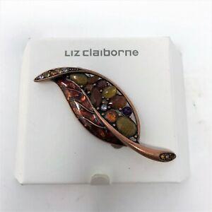 Vntg-Liz-Claiborne-Autumn-Fall-Leaf-Enamel-Pin-Brooch-Signed-Rhinestone-Copper