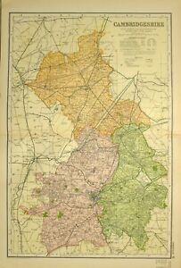 1902 Antik Landkarte Cambridgeshire März Hittlesey Ely Newmarket Linton
