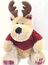 "Reindeer 13"" Doll Plush Stuffed Animal by Paris Presents Inc. Plaid Feet & Ears"